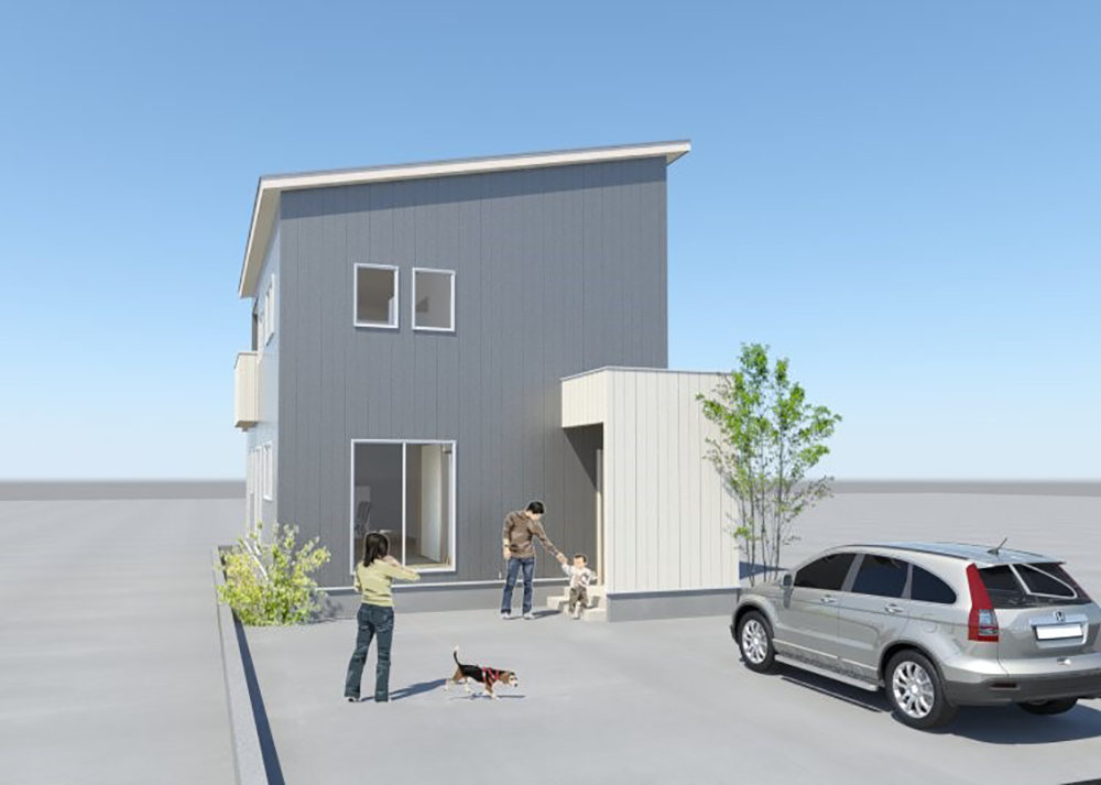 鯖江市丸山町分譲住宅モデルハウスパース